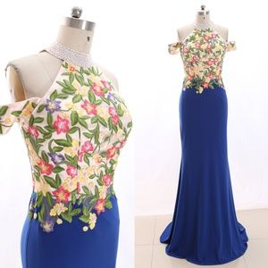 Dresses & Skirts - Halter Floral Sheath Blue Prom Dress Evening Gown